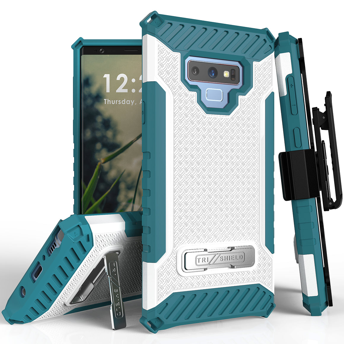 Tri Shield For Samsung Galaxy Note 9 White/Light Blue, TPU Case,Kickstand, With Belt Clip Holster,