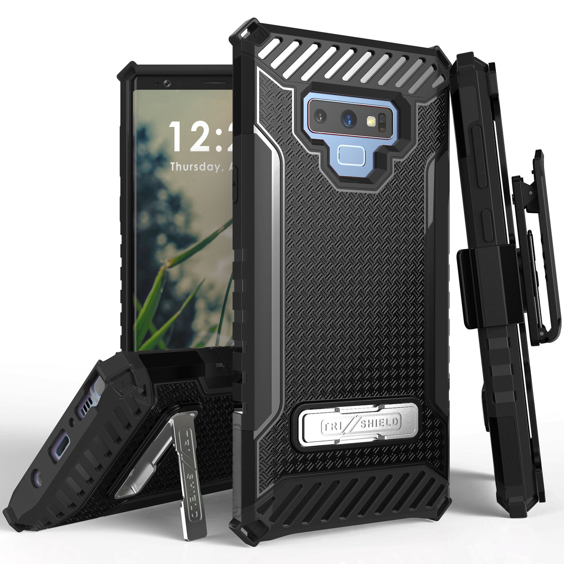 Tri Shield For Samsung Galaxy Note 9 Black/Black, TPU Case,Kickstand, With Belt Clip Holster,