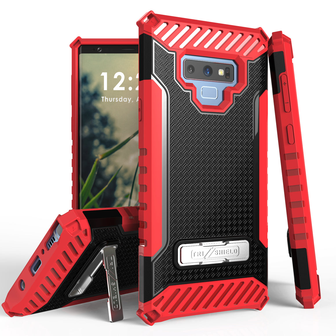 Tri Shield For Samsung Galaxy Note 9 Black/Red, TPU Case,Kickstand,