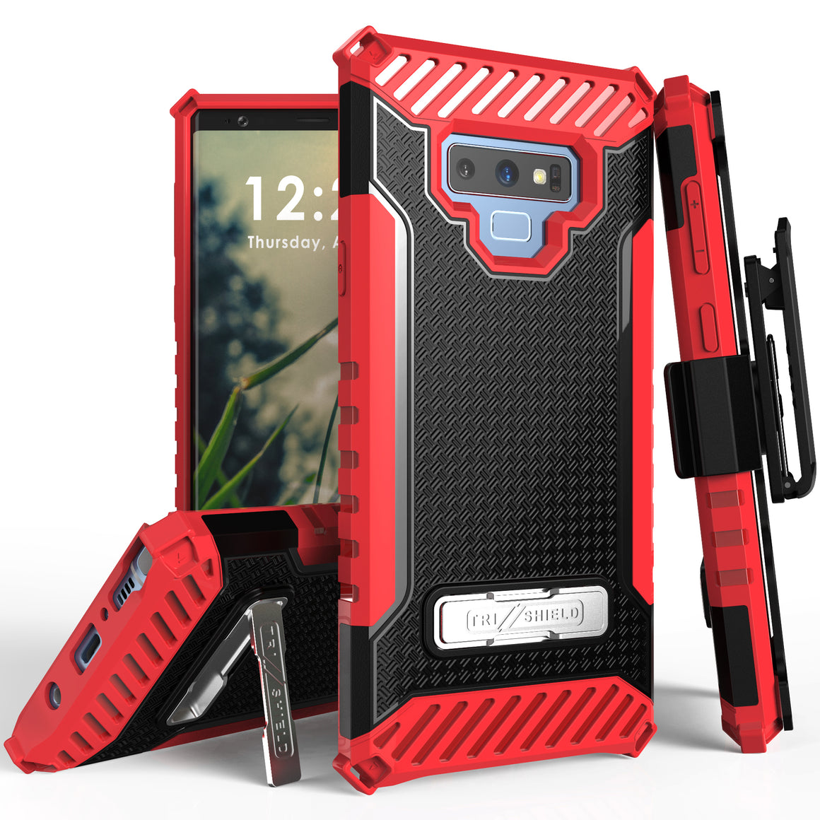 Tri Shield For Samsung Galaxy Note 9 Black/Red, TPU Case,Kickstand, With Belt Clip Holster,