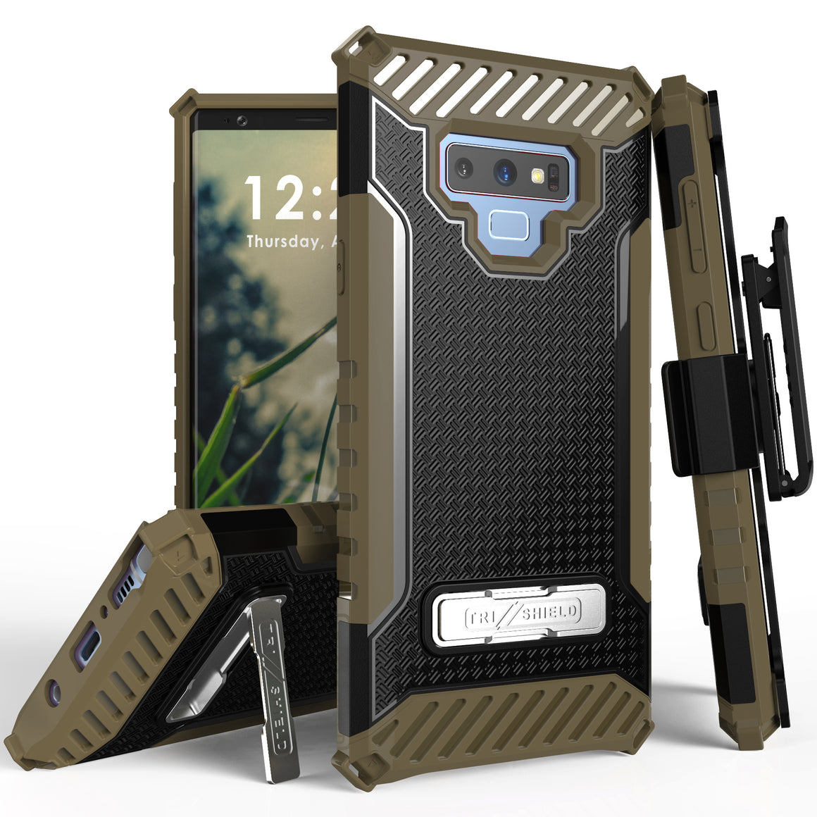 Tri Shield For Samsung Galaxy Note 9 Black/Tan, TPU Case,Kickstand, With Belt Clip Holster,
