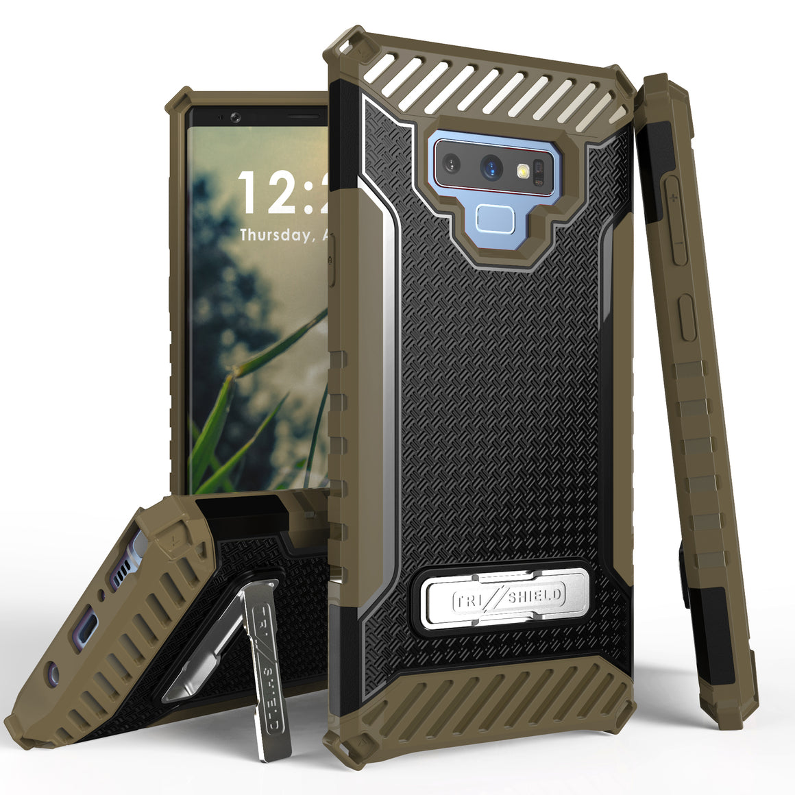 Tri Shield For Samsung Galaxy Note 9 Black/Tan, TPU Case,Kickstand,