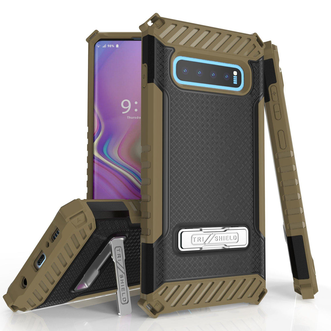 Tri Shield For Samsung Galaxy S10 Plus Black/Tan, TPU Case,Kickstand,