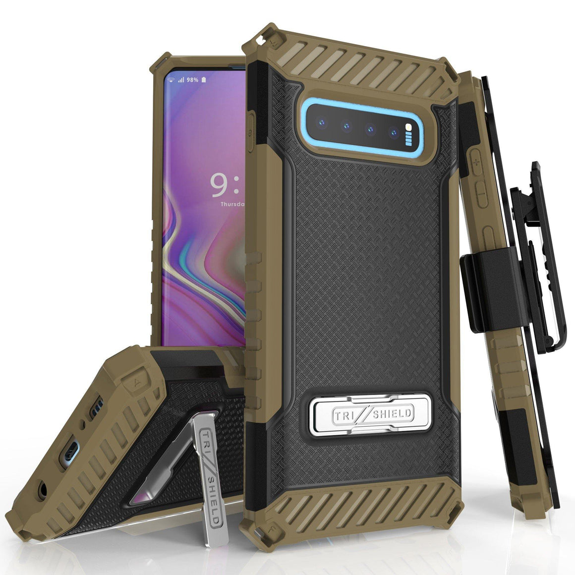 Tri Shield For Samsung Galaxy S10 Plus Black/Tan, TPU Case,Kickstand, with Belt Clip Holster,