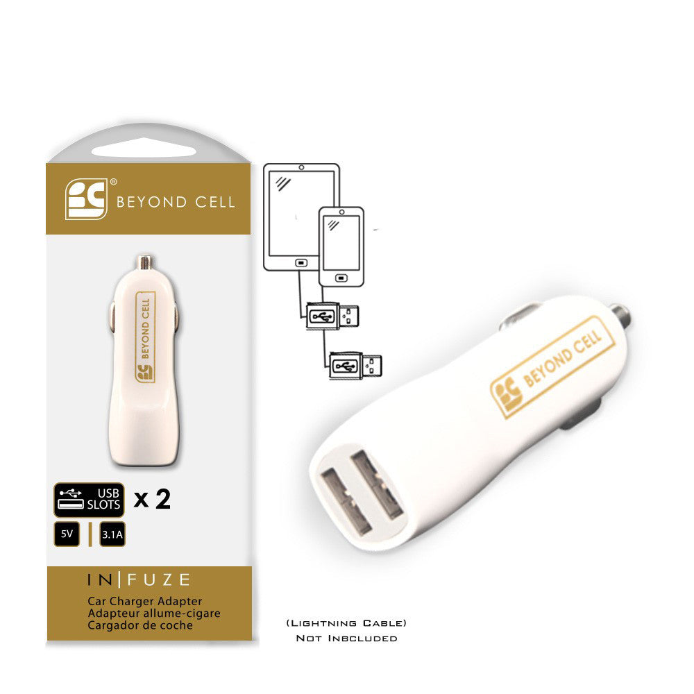 Universal 3.1 Amps Duo Ports Car Charger Adapter White