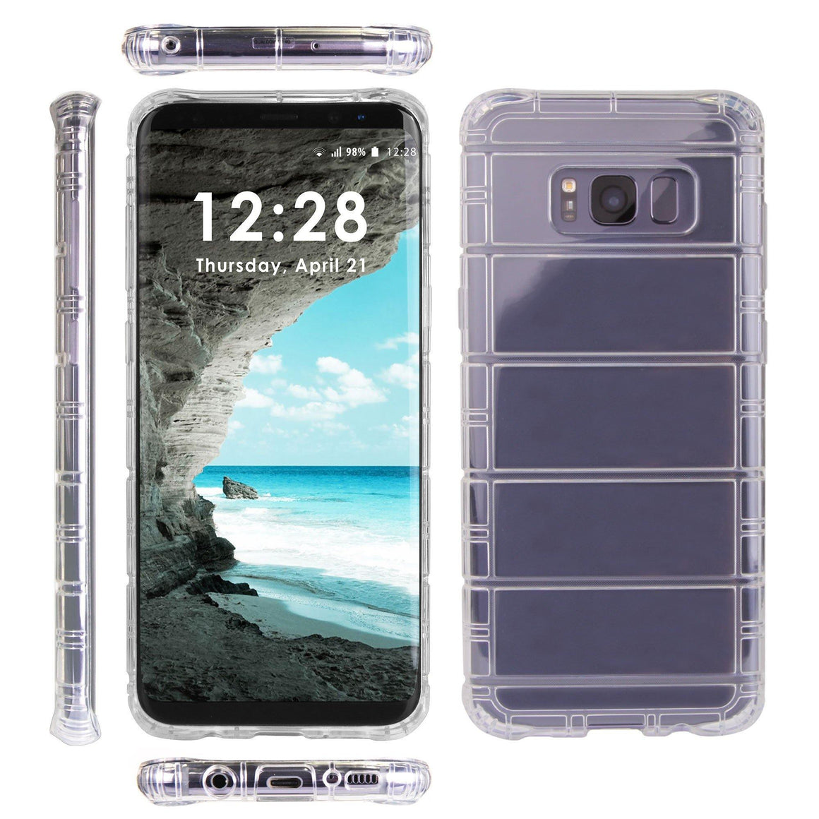 "AirCushion Shield For Samsung Galaxy S8 5.8"" Crystal Clear Shock Absorption Bumper TPU Gel Flex Slim Case"