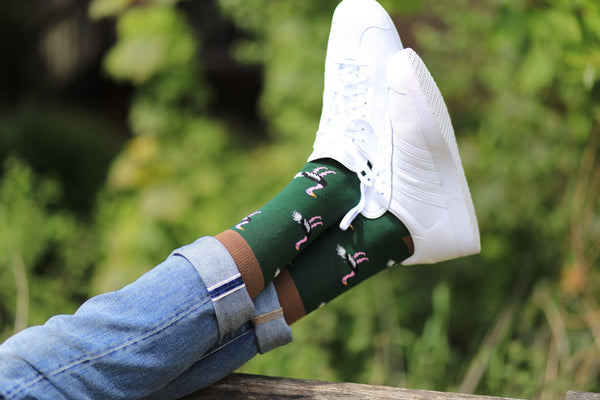 Ostrich green cotton socks