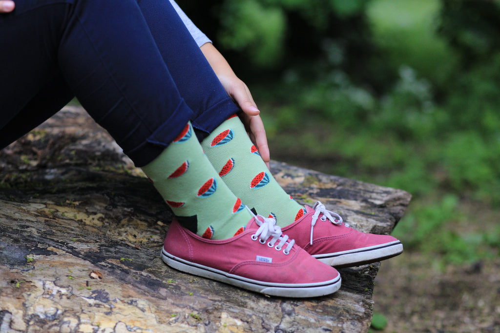 Watermelon green cotton socks outdoor