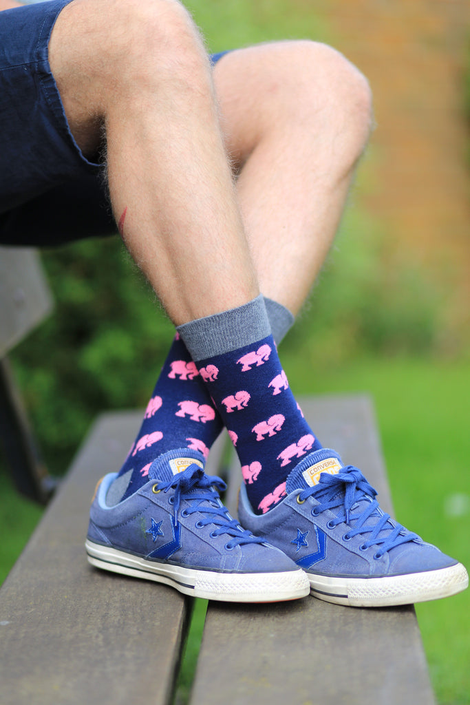 Elephant blue pink cotton socks outdoor