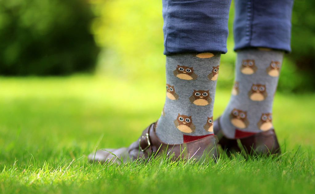 Owl grey cotton socks outdoor
