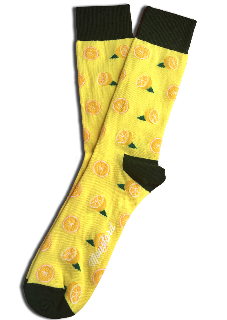 Lemon yellow cotton socks
