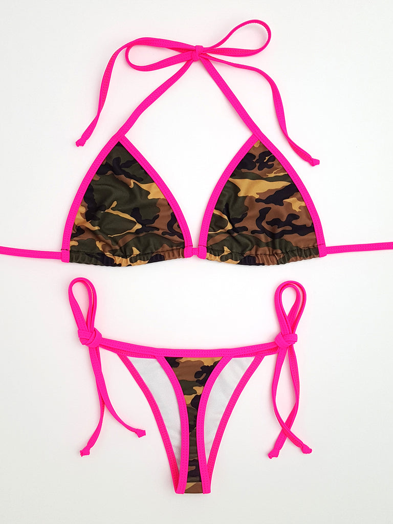 Camouflage with Pink Thong Bikini