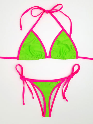 Neon Green with Pink Brazilian Bikini