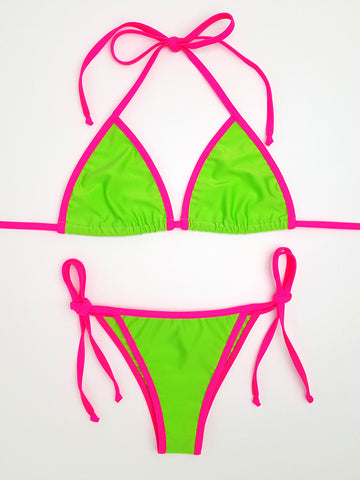 Neon Green with Pink Cheeky Bikini