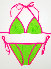 Neon Green with Pink Full Bikini