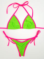 Neon Green with Pink Micro Scrunch Bikini