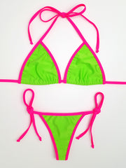 Neon Green with Pink Thong Bikini