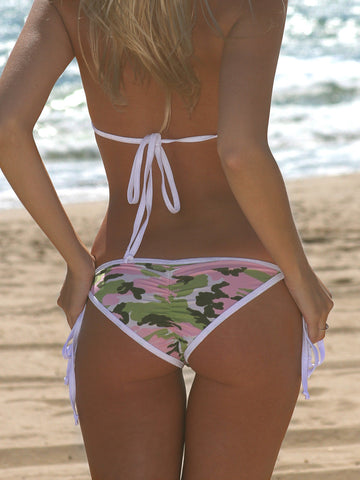 Pink Camouflage with White Scrunch Butt Bikini