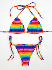 Rainbow Stripes Cheeky Bikini