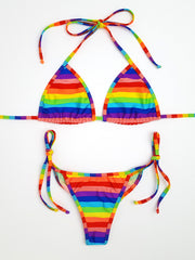 Rainbow Stripes Micro Scrunch Bikini