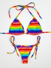 Rainbow Stripes Thong Bikini