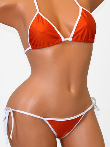 Burnt Orange with White Texas Scrunch Butt Bikini