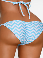 Turquoise Chevron Stripes Scrunch Butt Bikini