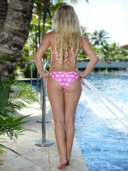 White Large Polka Dots on Pink Scrunch Butt Bikini