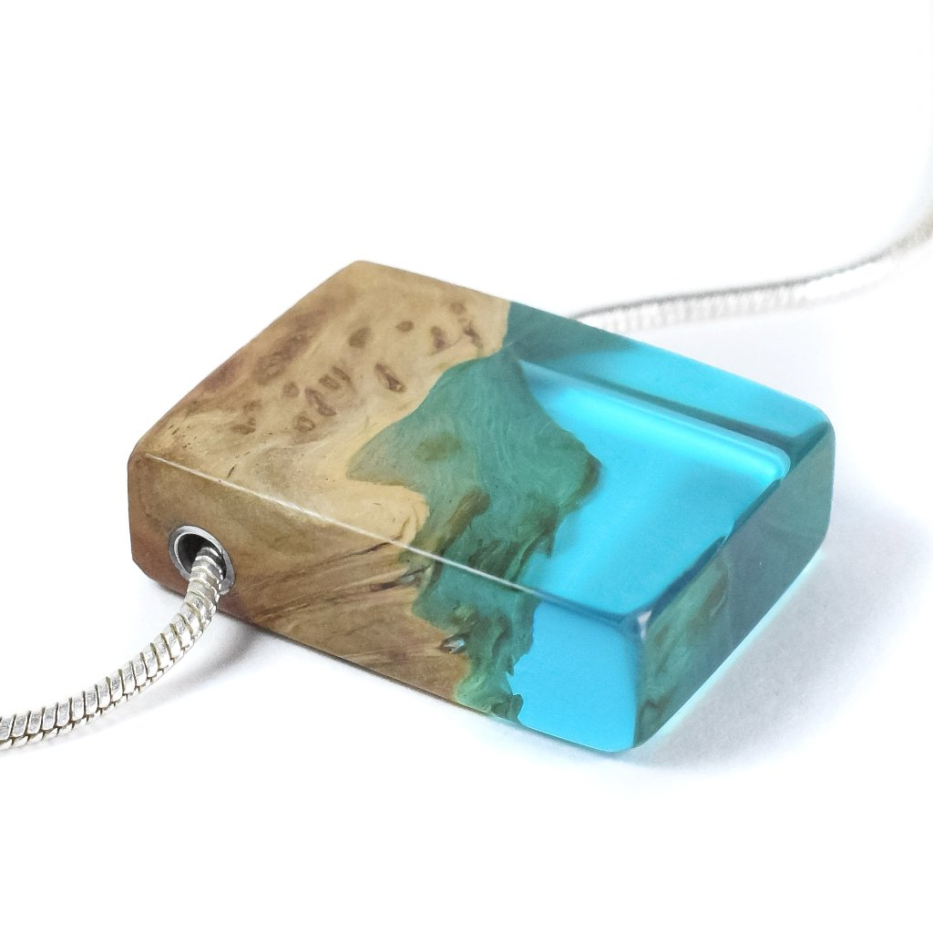 Blue Resin and wood Necklace, Ocean necklace, wood resin necklace, Small pendant, Beach pendant, Holiday treat, Artisan Jewelry