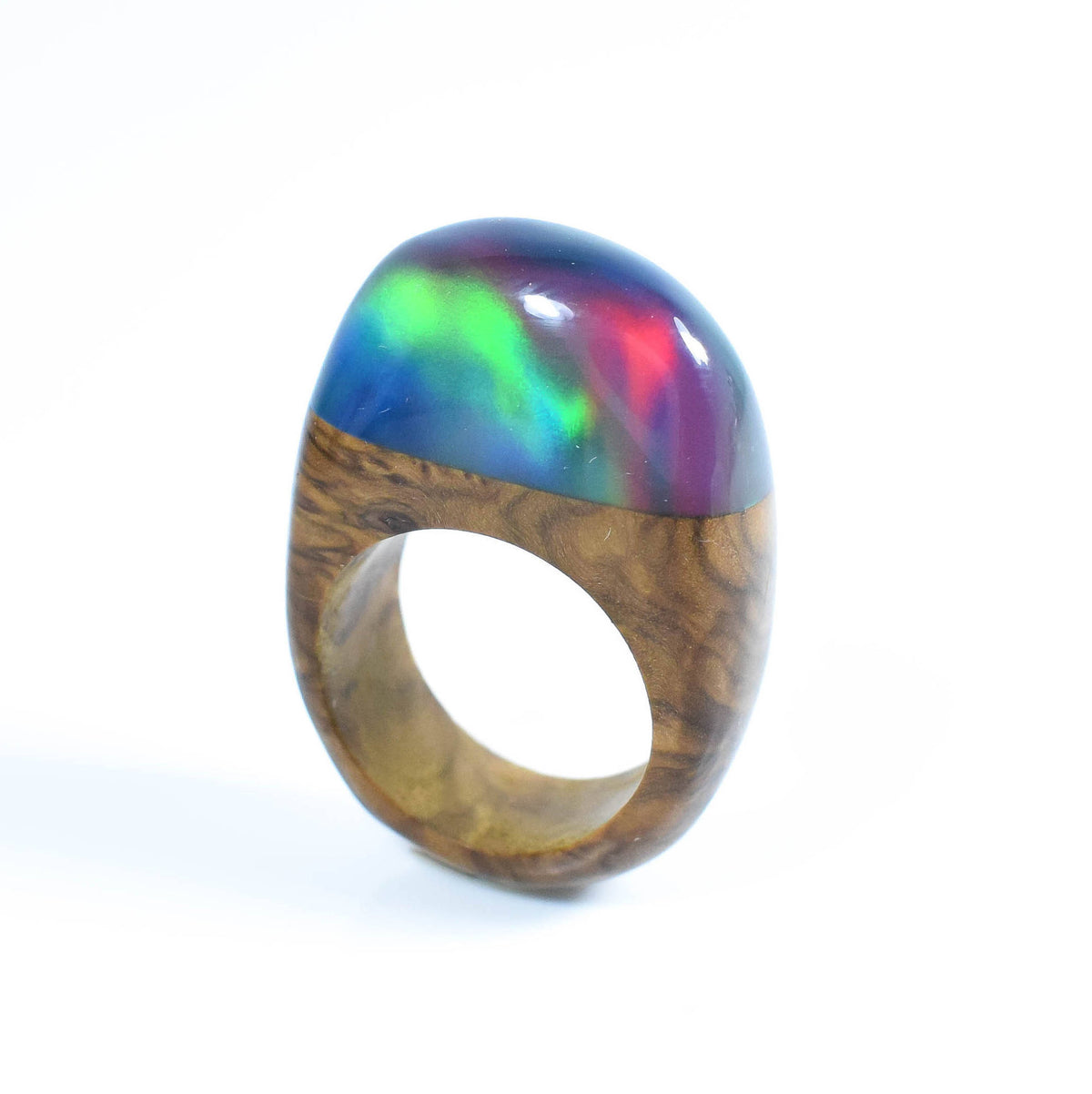Unusual Ring, Northern lights, Lab created Opal Ring, Colour shifting ring, Boho ring, ArtfulResin, Special Birthday, Statement Ring