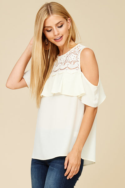 c7d36b7b306961 Myra Cold Shoulder Top White – Lily and Sage Boutique