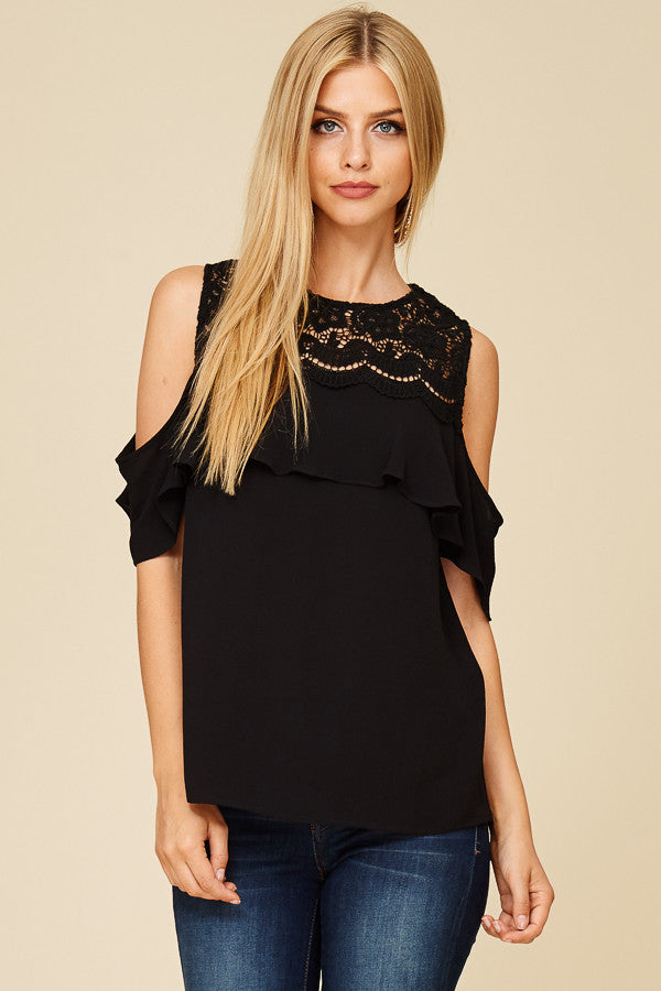 95d90e84b2f2be Myra Cold Shoulder Top Black – Lily and Sage Boutique