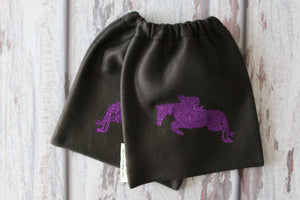 English Stirrup Covers,Stirrup Bag, Equine Iron Covers Black Base Purple Glitter Jumping Horse