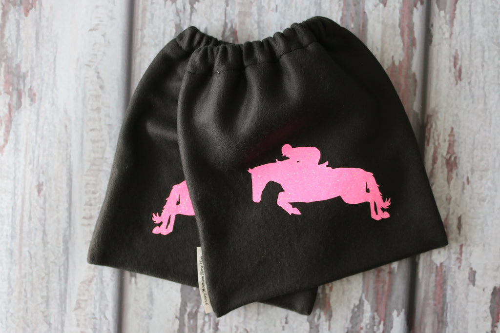 English Stirrup Covers,Stirrup Bag, Equine Iron Covers Black Base Pink Glitter Jumping Horse