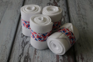 Polo Wraps / Stable Wraps, Set of 4 , Standard Size, White Base Patriotic