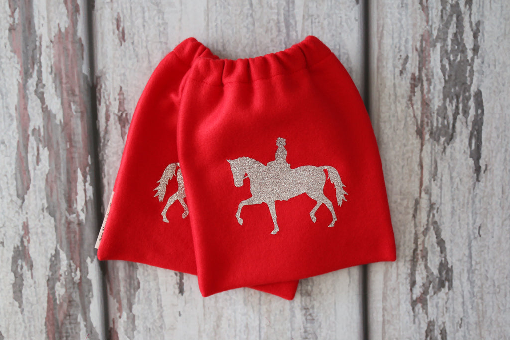 English Stirrup Covers,Stirrup Bag, Equine Iron Covers Red Base Silver Glitter Dressage Rider