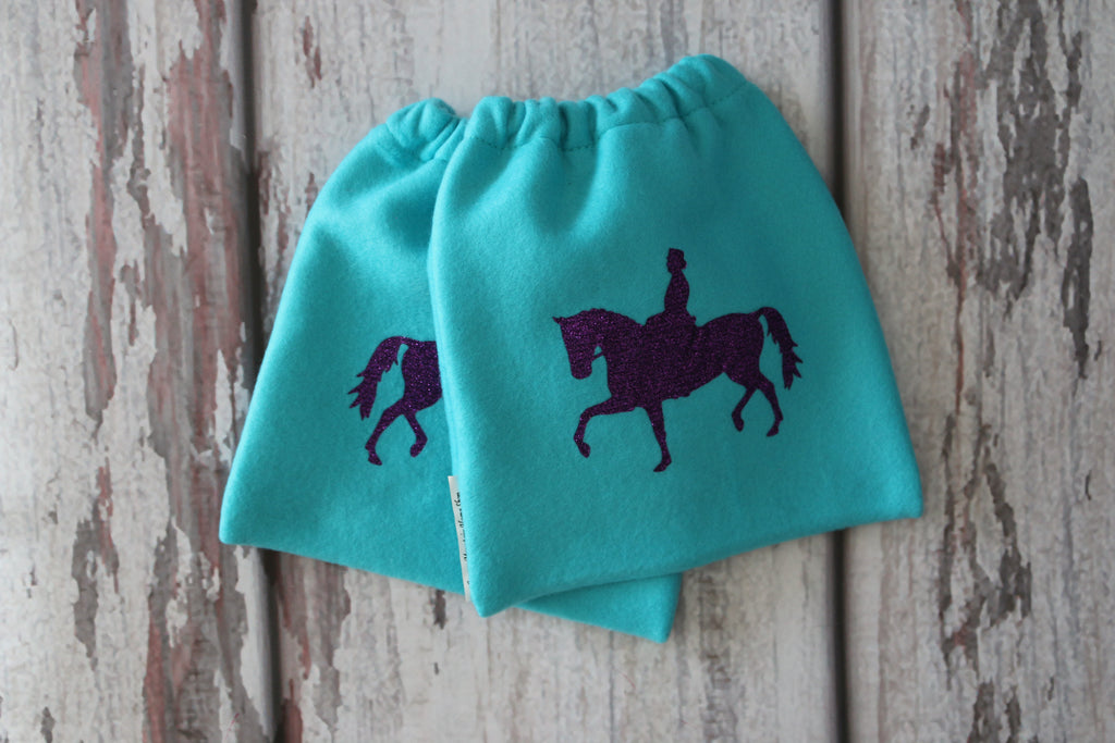 English Stirrup Covers,Stirrup Bag, Equine Iron Covers Turquoise Base Purple Glitter Dressage Rider