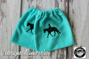 English Stirrup Covers, Stirrup Bag, Equine Iron Covers, Elastic Closing, Embroidered English Rider Turquoise  Base
