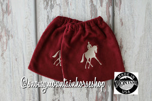 English Stirrup Covers,Stirrup Bag, Equine Iron Covers Embroidered Dressage Rider Silhouette Burgundy Base