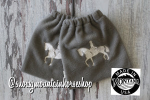 Embroidered English Stirrup Covers,Stirrup Bag, Equine Iron Covers Embroidered Dressage Rider Gray Base