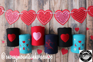 Polo Wraps / Stable Wraps, Set of 4 OR Set of 2, Standard Size, Red Heart Valentine's Day Themed, Embroidered Polo Wraps