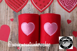 Polo Wraps / Stable Wraps, Set of 4 OR Set of 2, Standard Size, Pink Heart Valentine's Day Themed, Embroidered Polo Wraps