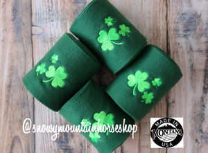 Polo Wraps / Stable Wraps, Set of 4 OR Set of 2, Standard Size, Irish Shamrock Embroidered Polo Wraps