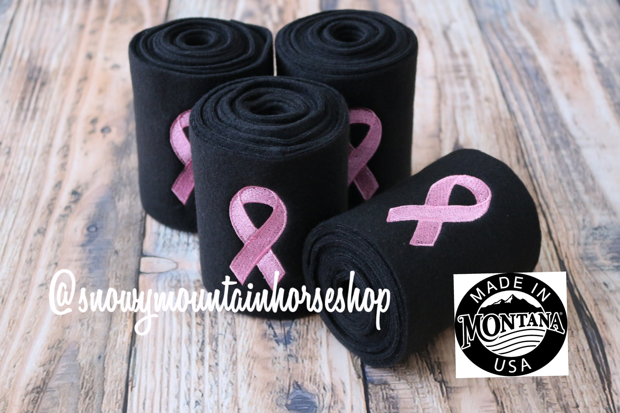 Polo Wraps / Stable Wraps, Set of 4 OR Set of 2, Standard Size, Pink Breast Cancer Awareness Ribbon Embroidered Polo Wraps