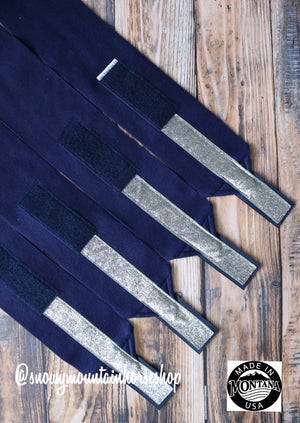 Polo Wraps / Stable Wraps, Set of 4 , Standard Size, Metallic Navy Base Silver Glitter Ribbon