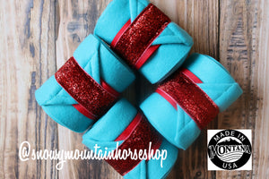 Polo Wraps / Stable Wraps, Set of 4 , Standard Size, Red Glitter Ribbon Turquoise Base