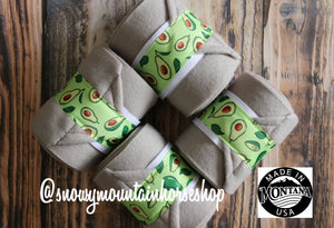 Polo Wraps / Stable Wraps, Set of 4 , Standard Size, Avocado Up! Light Gray Base