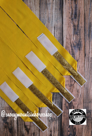 Polo Wraps / Stable Wraps, Set of 4 , Standard or Yearling/ Pony Size, Bright Lemon Yellow Base Gold Glitter Ribbon