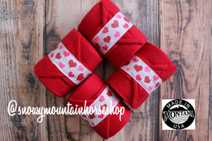 Polo Wraps / Stable Wraps, Set of 4 , Standard or Yearling/ Pony Size, Red Base Valentine Hearts Ribbon