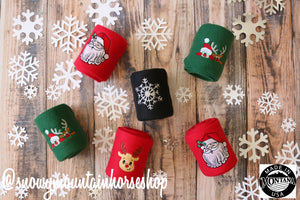 Polo Wraps / Stable Wraps, Set of 4 OR Set of 2, Standard Size, Snowflakes Holiday Themed Christmas, Embroidered Polo Wraps